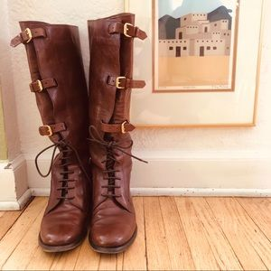 Burberry leather riding boots with buckles size 38